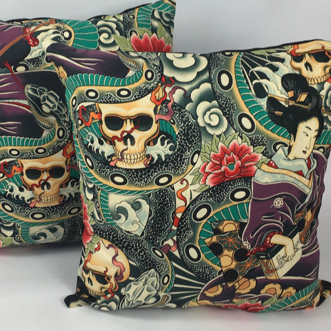 Japanese tattoo multicoloured cushion cover