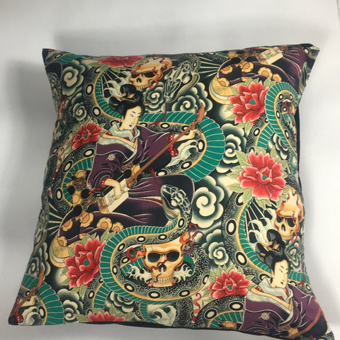 Japanese tattoo multicoloured floor cushion cover
