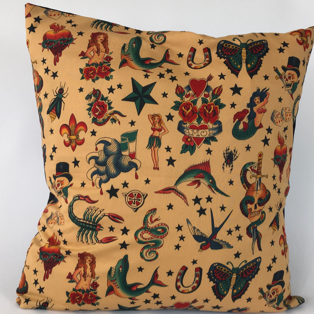 Old Tattoo Cushion cover - tan