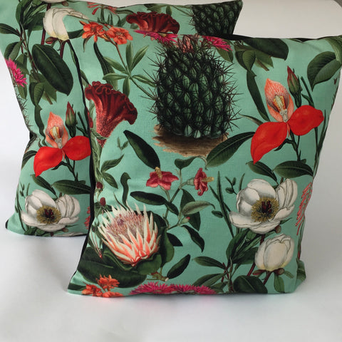 velvet cactus cushion cover