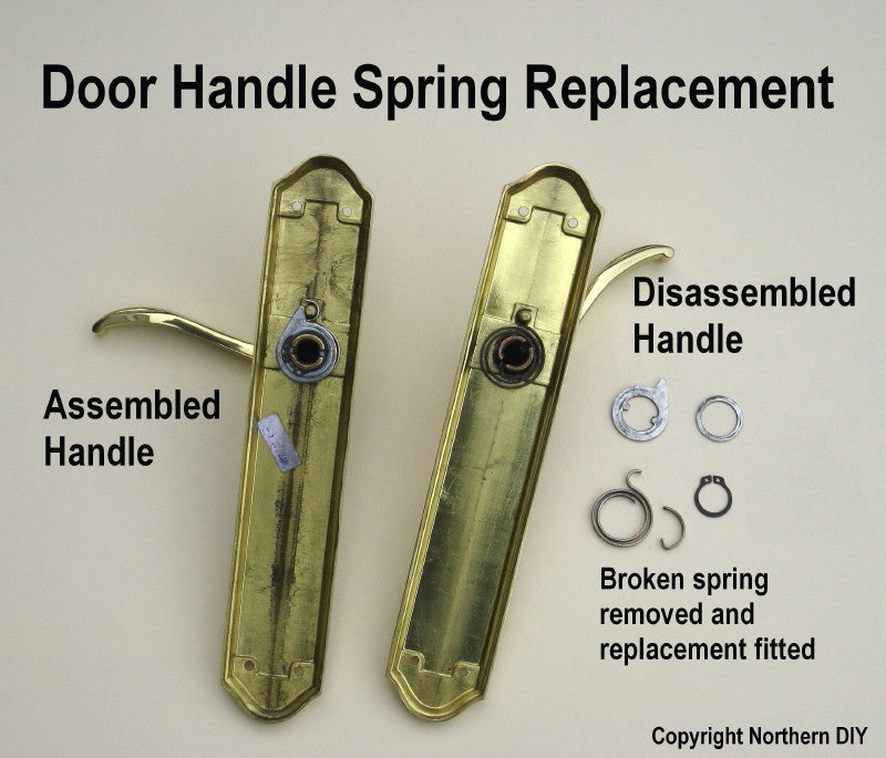 disassembled door handle with washers removed to replace spring & How to Fix a Door Handle u2013 DoorHandleSprings.co.uk