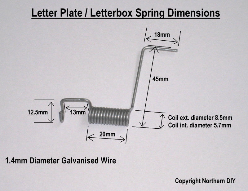 Letter Plate / Letterbox Spring Dimensions