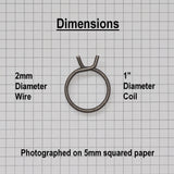 25.4mm Diameter 2 Turn Door Handle Spring - Dimensions