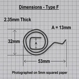 Door Handle Spring Type F - Dimensions