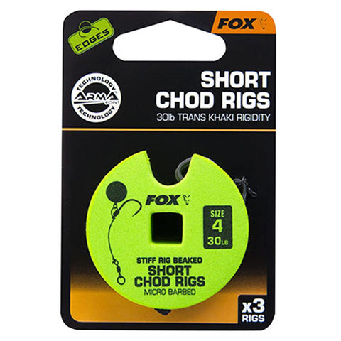 Fox Edges Chod Ready Rigs Short 4 / Barbed 30Lb Carp Ready Tied Rigs