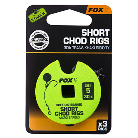 Fox Edges Chod Ready Rigs Short 5 / Barbed 30Lb Carp Ready Tied Rigs
