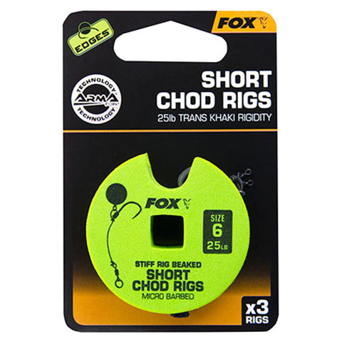 Fox Edges Chod Ready Rigs Short 6 / Barbed 25Lb Carp Ready Tied Rigs