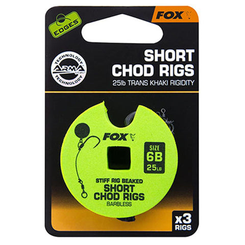 Fox Edges Chod Ready Rigs Short 6 / Barbless 25Lb Carp Ready Tied Rigs