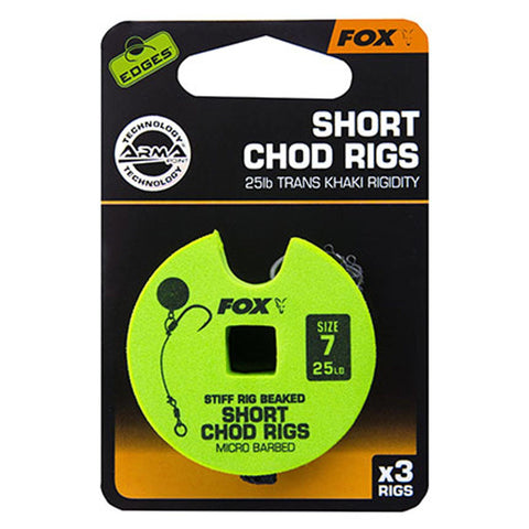 Fox Edges Chod Ready Rigs Short 7 / Barbed 25Lb Carp Ready Tied Rigs