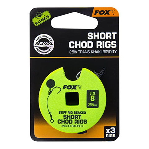 Fox Edges Chod Ready Rigs Short 8 / Barbed 25Lb Carp Ready Tied Rigs