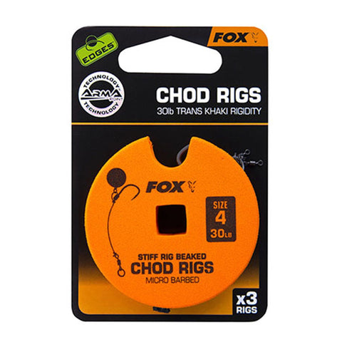 Fox Edges Chod Ready Rigs Standard 4 / Barbed 30Lb Carp Ready Tied Rigs