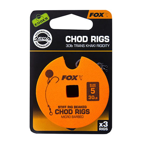Fox Edges Chod Ready Rigs Standard 5 / Barbed 30Lb Carp Ready Tied Rigs