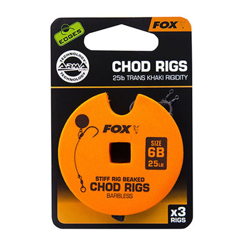Fox Edges Chod Ready Rigs Standard 6 / Barbed 25Lb Carp Ready Tied Rigs