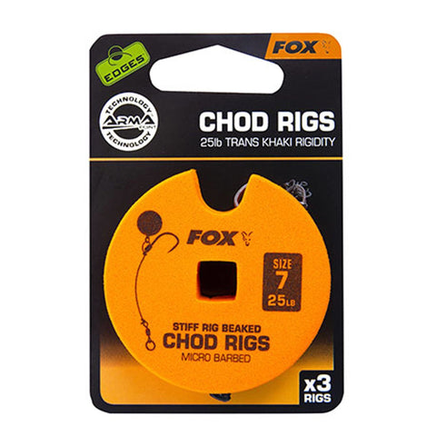 Fox Edges Chod Ready Rigs Standard 7 / Barbed 25Lb Carp Ready Tied Rigs