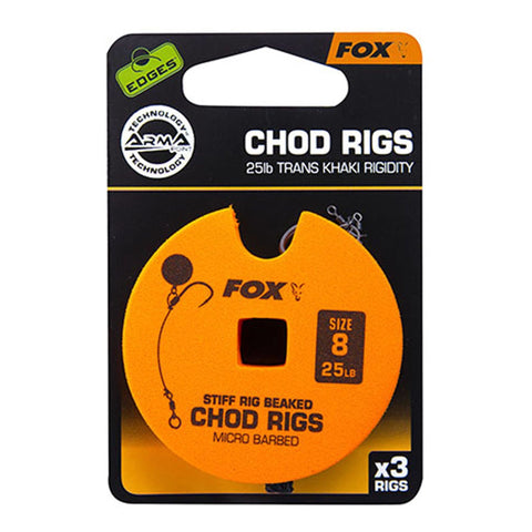 Fox Edges Chod Ready Rigs Standard 8 / Barbed 25Lb Carp Ready Tied Rigs