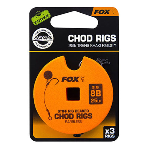 Fox Edges Chod Ready Rigs Standard 8 / Barbless 25Lb Carp Ready Tied Rigs