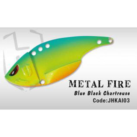 Herakles Metal Fire Blade Bait Blue Black Chartreuse Spinners