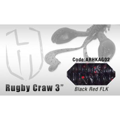 Herakles Rugby Craw 3 Inch / Black Red Flk Dropshot Lures