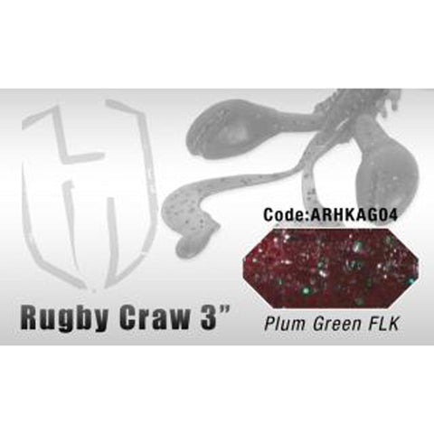 Herakles Rugby Craw 3 Inch / Plum Green Flk Dropshot Lures