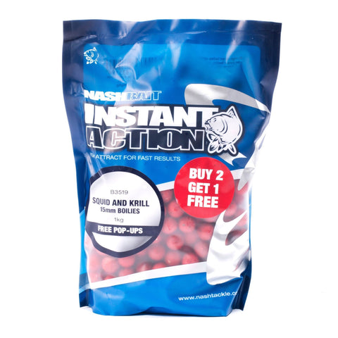 Nash Instant Action Boilies Squid And Krill 1Kg Carp
