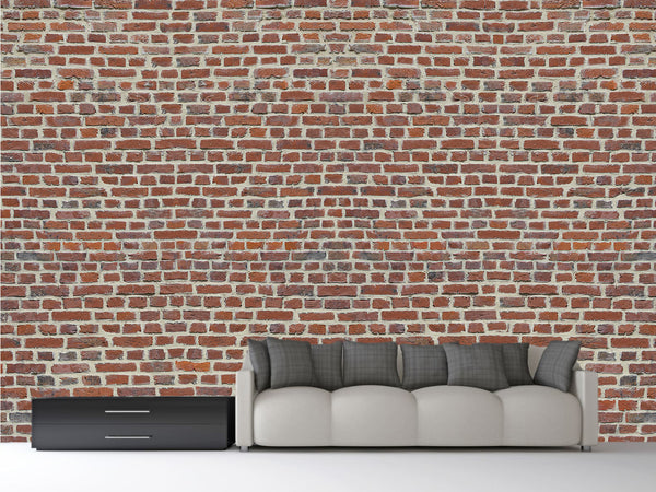 Red brick wall mural 1wall murals for Brick wall mural decal