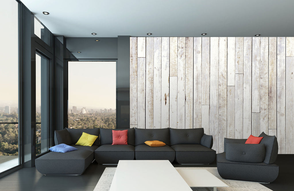 Whitewash wood wall mural 3 15mx2 32m