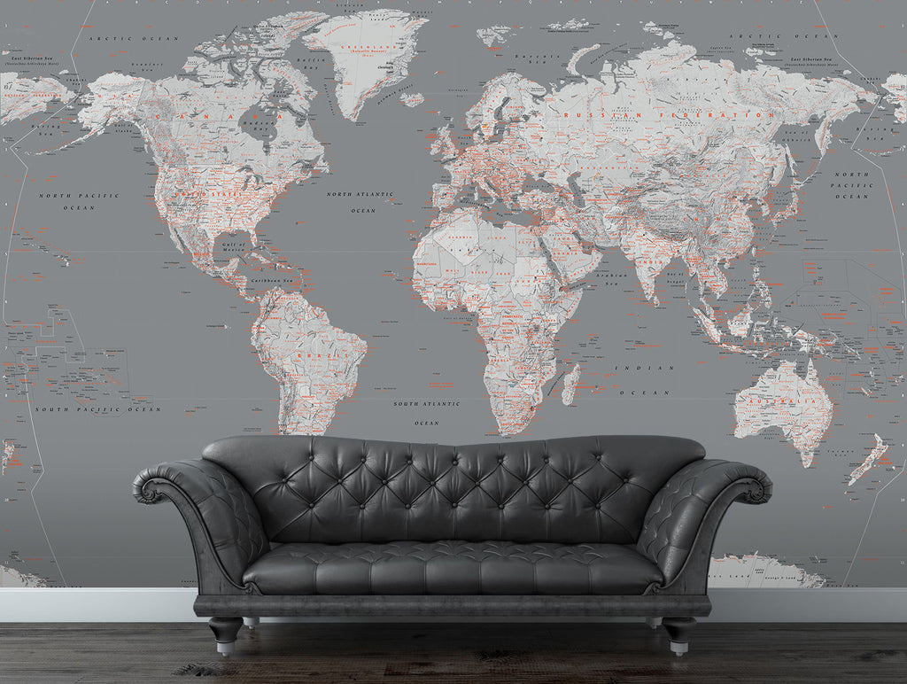 Silver world map wall mural 315m x 232m 1wall murals silver world map wall mural 315m x 232m gumiabroncs Image collections