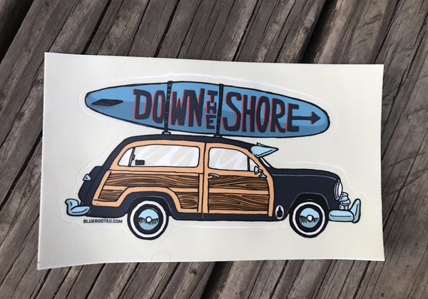 Down The Shore Woodie Sticker