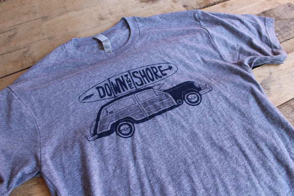 Down the Shore Woodie Grey T