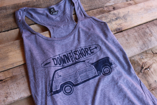 Down the Shore- Woodie Racer tank Grey