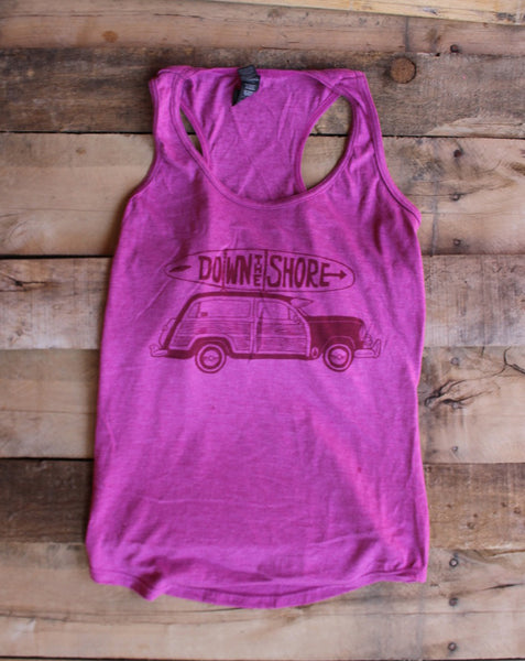 Down the Shore- Woodie Racer tank Raspberry