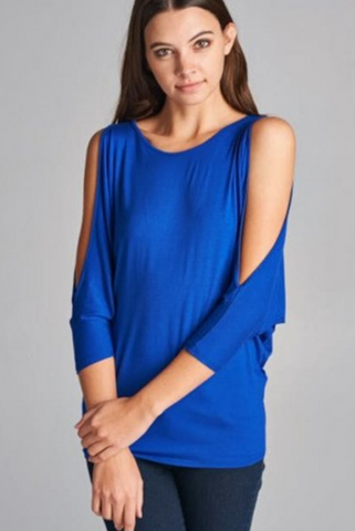 CLEARANCE: The Closet Refresh - Batwing Cold Shoulder Blouse