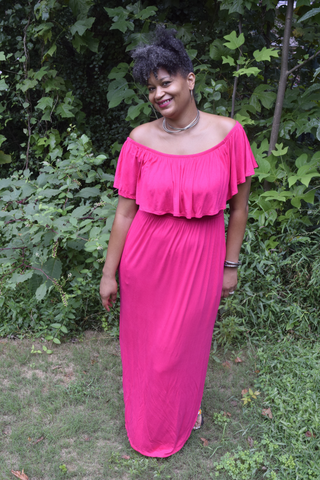 "Flash Dress Sale: The ""No Regrets"" Hot Pink Off the Shoulder Maxi Dress"