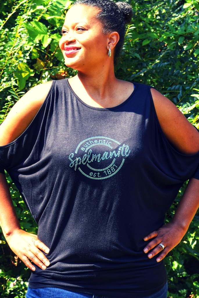 """Authentic"" Spelmanite Black Batwing Cold Shoulder Blouse"