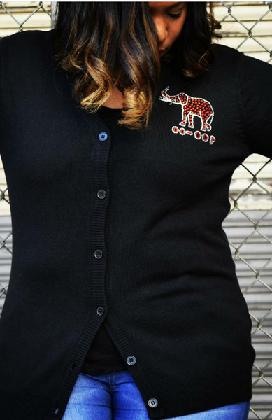 Pendant Elephant - Front Only- Button Up Cardigan