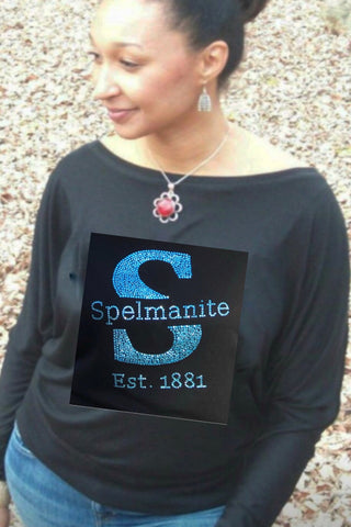 """S"" is for Spelmanite Soft Off Shoulder Slouchy Dolman Tunic Top"