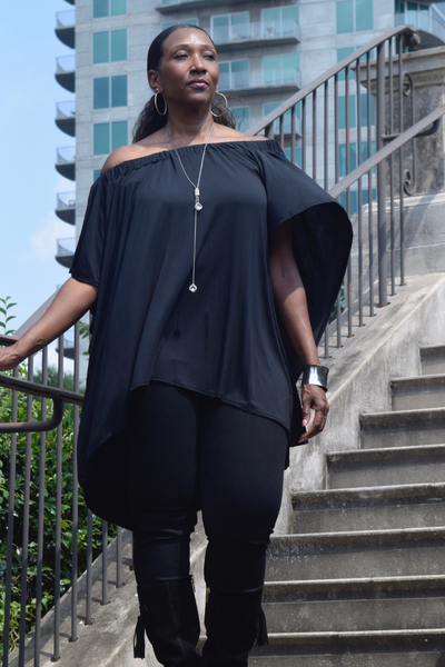 The Closet Refresh: Break the Barrier Cold Shoulder Tunic Cape