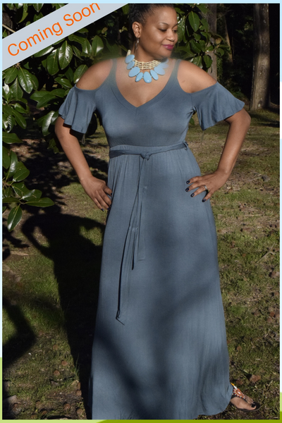 "The Closet Refresh: The Antique Teal The ""Call Her Beautiful"" Cold Shoulder Flutter Sleeve Dress"