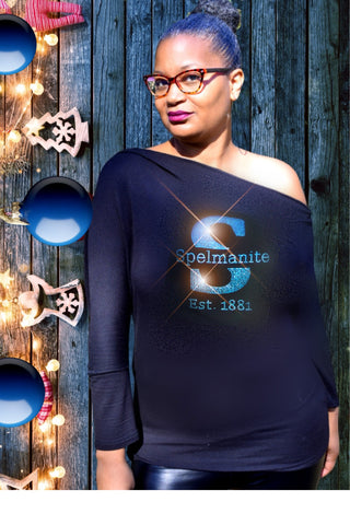 "Asymmetrical One Shoulder ""S"" is for Spelmanite Long Sleeve Top"