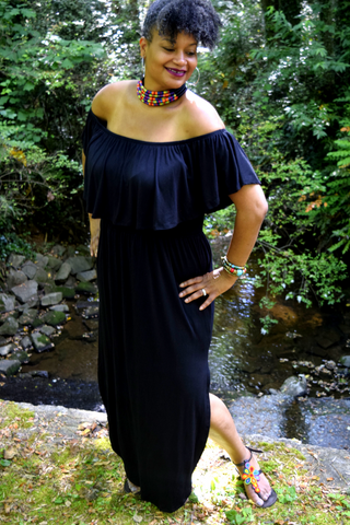 "The Innocence Collection: The ""No Regrets"" Black Off the Shoulder Maxi Dress"