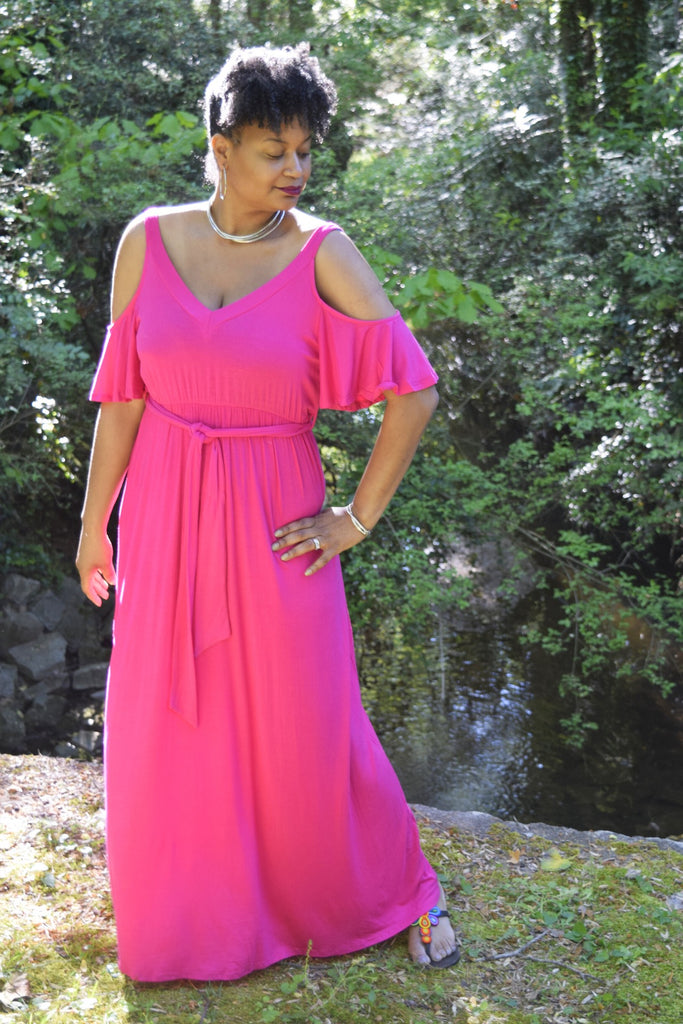 "The Closet Refresh: The ""Call Her Beautiful"" Hot Pink Cold Shoulder Flutter Sleeve Dress"