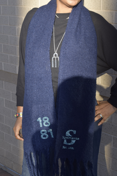 """S"" is for Spelmanite Long Fringe Scarf"