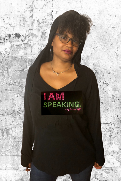 I AM Speaking - My Soror & VP - V-neck Hoodie