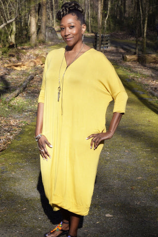 The Closet Refresh: The Mustard Dueling Zipper V-neck Dress
