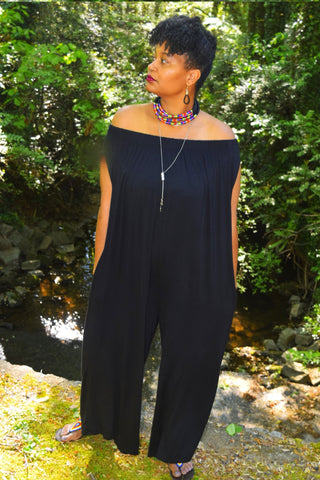 The Closet Refresh:  Black Off the Shoulder Harem Jumpsuit