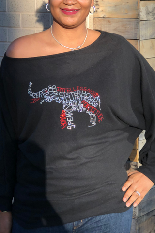 CLEARANCE: Infinity Elephant Hacci Off Shoulder Slouchy Dolman Tunic Top