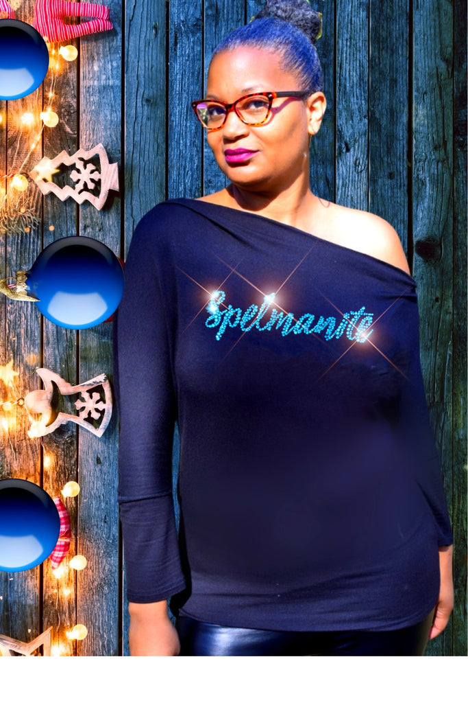Asymmetrical One Shoulder Spelmanite (Cursive) Long Sleeve Top