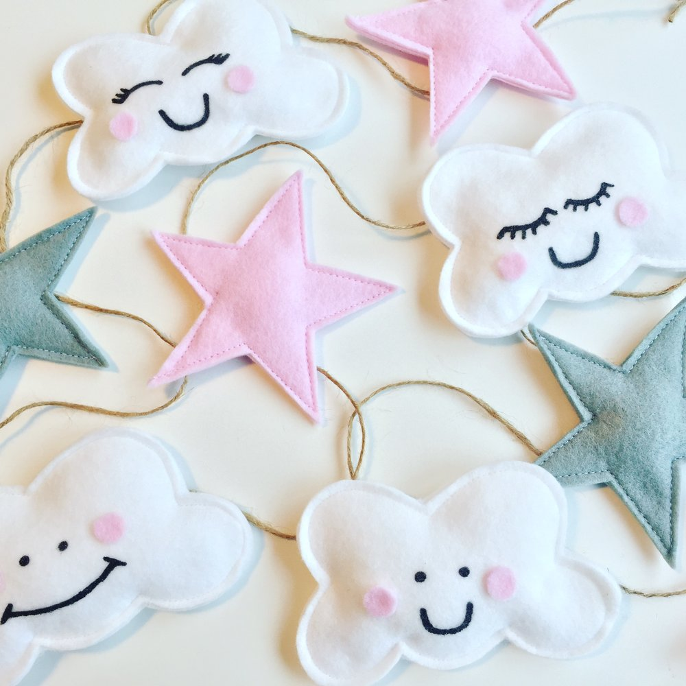 Girls pink cloud garland