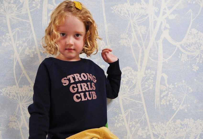 KIds Strong Girls Club sweatshirt  navy and bronze