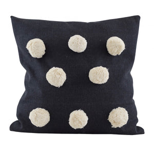 Giant Pom Pom raven cushion